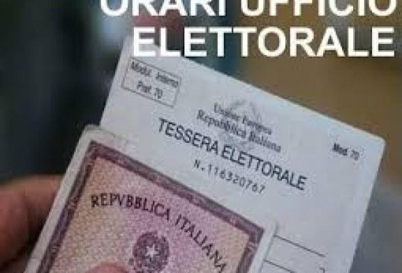 ORARIO DI APERTURA DELL'UFFICIO ELETTORALE AL PUBBLICO